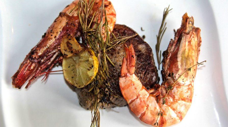 grilled steak and shrimp