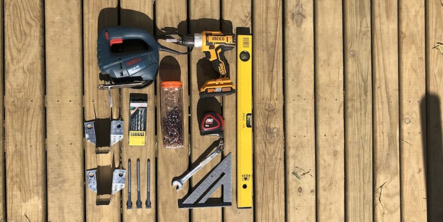 Collection of tools on deck