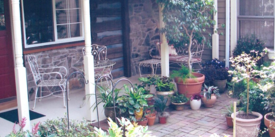 Porch and Front Yard Vegetable Garden