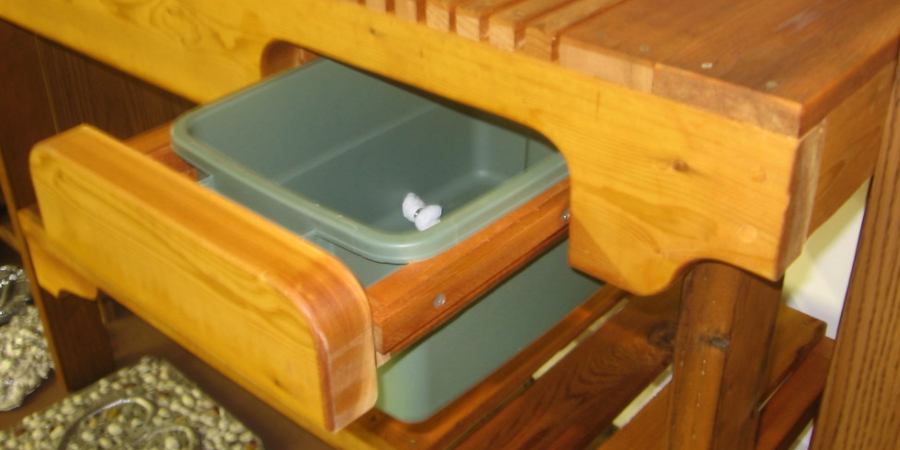 Potting Bench With Hidden Garbage