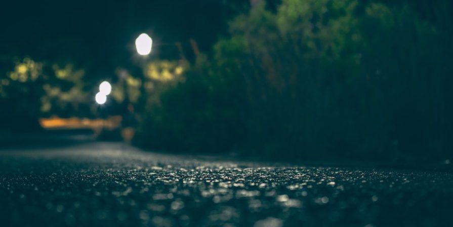 Asphalt driveway at night