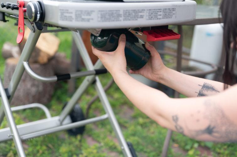 Adding propane tank to Weber Traveler