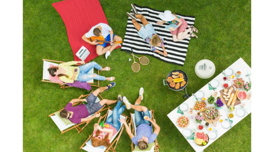 Family backyard camping