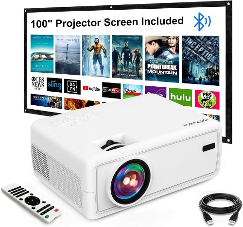 """GROVIEW Mini Outdoor Movie Projector with 100"""" Projector Screen"""