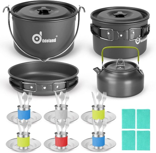Camping Checklist: What Basics Do I Need For Camping? - Odoland 39 pcs Camping Cookware Mess Kit for 6