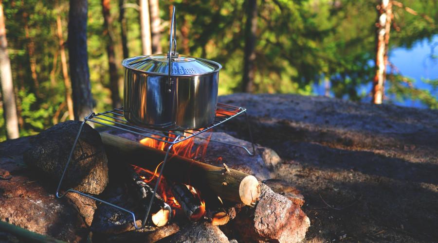 Large pot on campfire