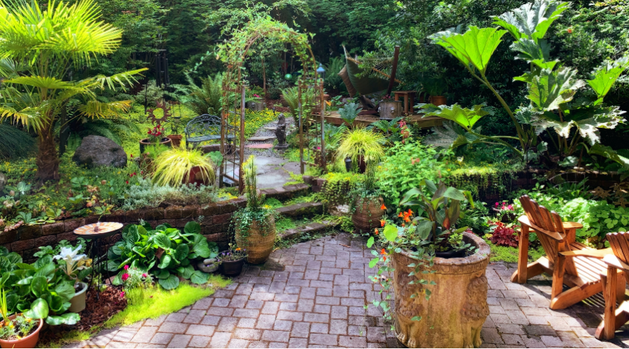 Eclectic landscaping around patio