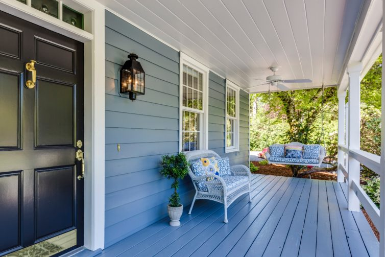 Traditional blue porch
