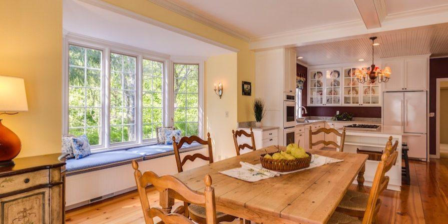 Bay window in yellow kitchen