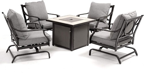 Grand Patio 5 Piece Outdoor Furniture Set with Gas Fire Pit Table