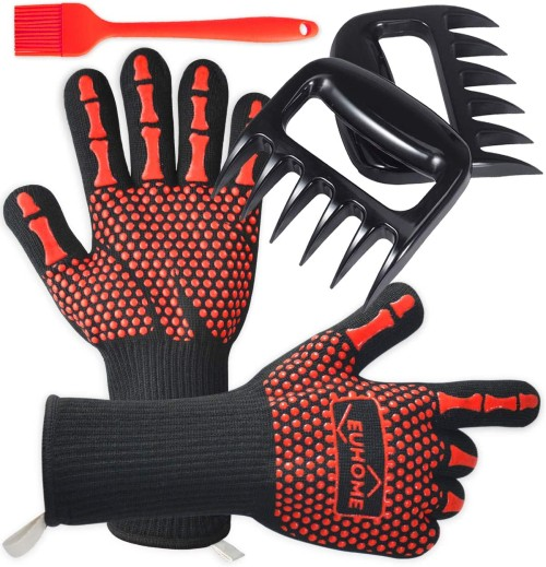 EUHOME 3 in 1 BBQ Gloves