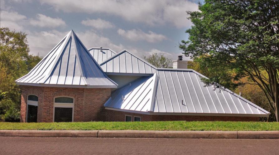 Metal roof on unique building
