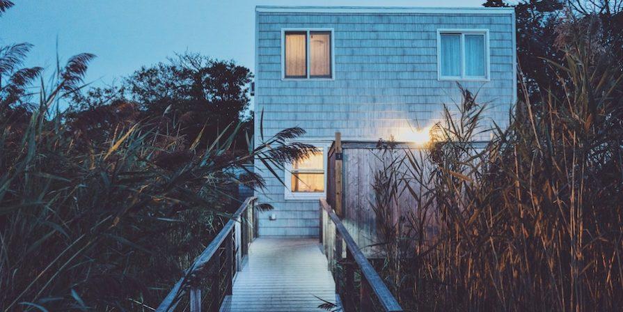 White cottage at dusk