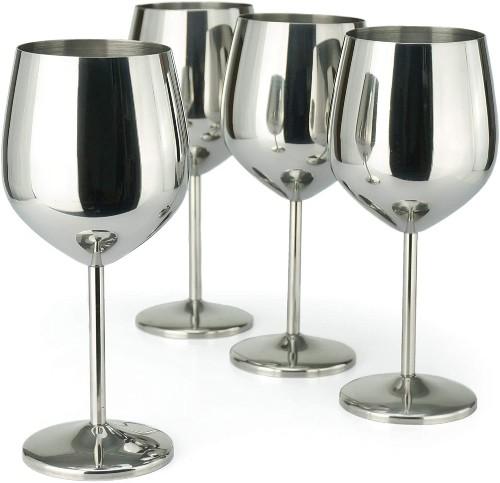PG Stainless Steel Stem Wine Glasses