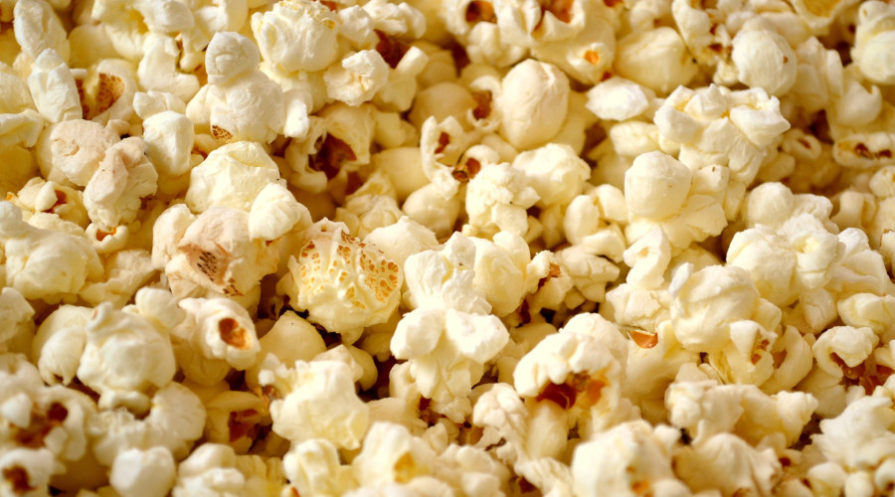 close-up of well-done popcorn