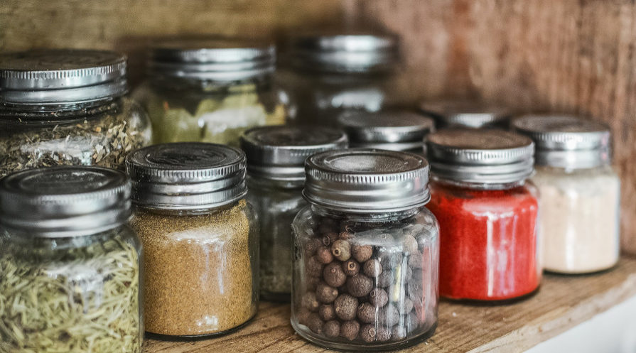 Herbs stored in glass jars