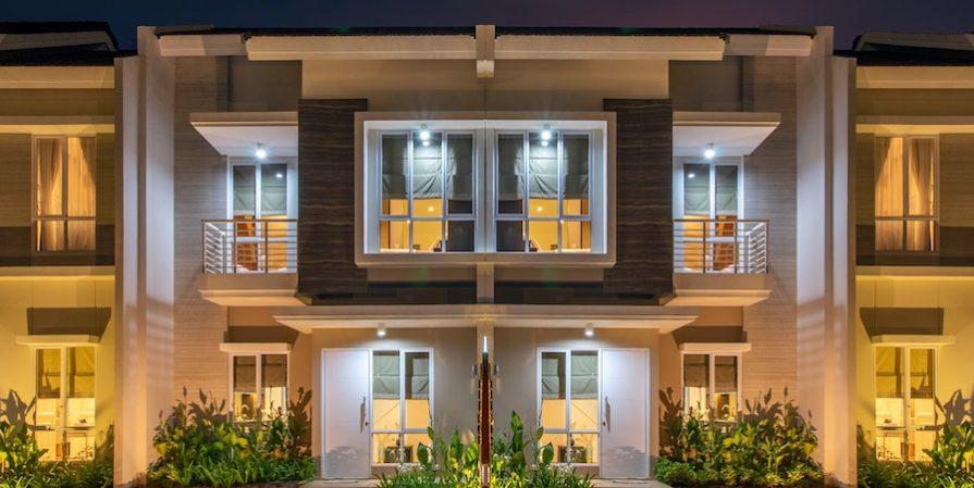 Large modern house at night