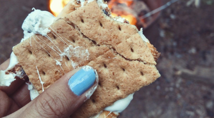 woman's hand holding s'more
