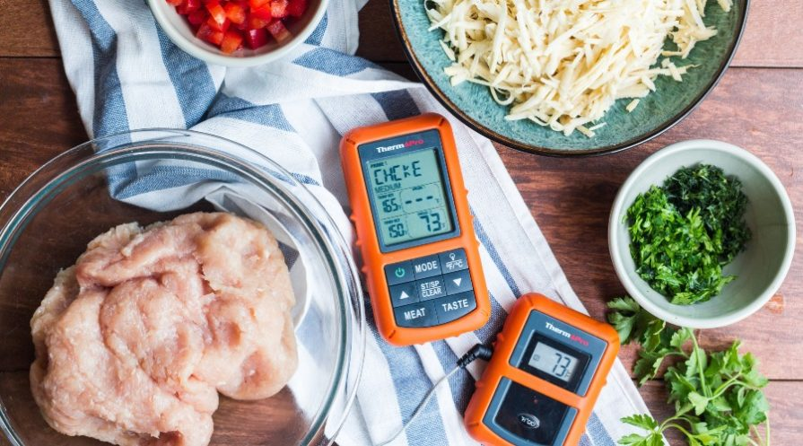Meat thermometers and raw ingredients