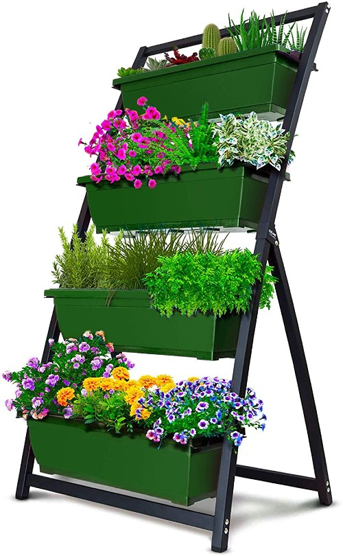 a planting frame with 4 green rectangular tiered planters