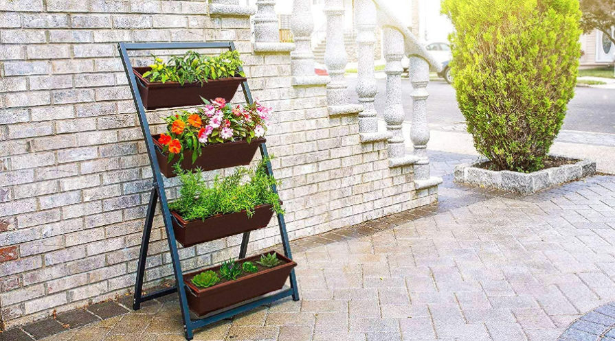 Vertical garden plant box by stairs leading to house