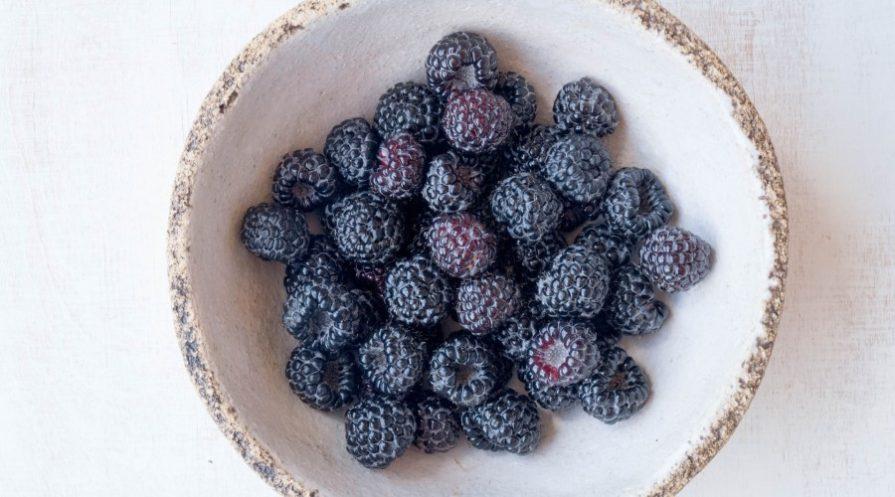 bowl of ripe blackberries