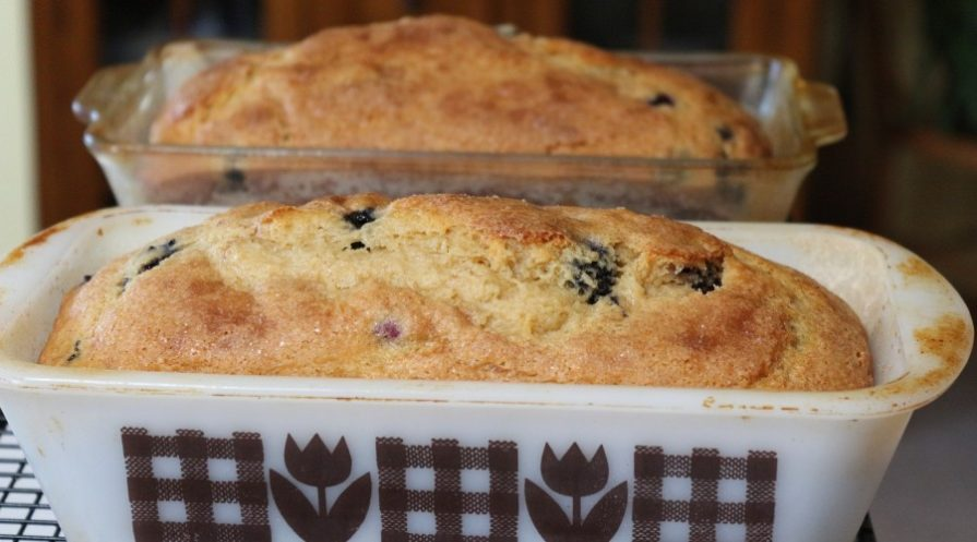 Blueberry bread in an old style bread pan