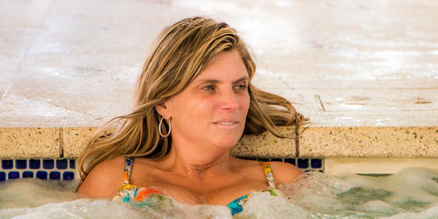 CloseUp of Woman in Hot Tub