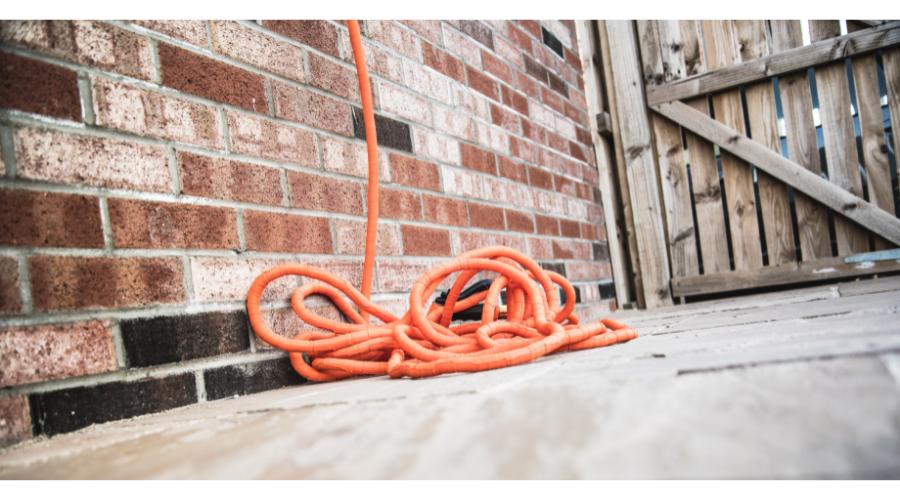 expandable hose on patio