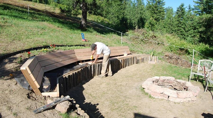 making a DIY fire pit bench