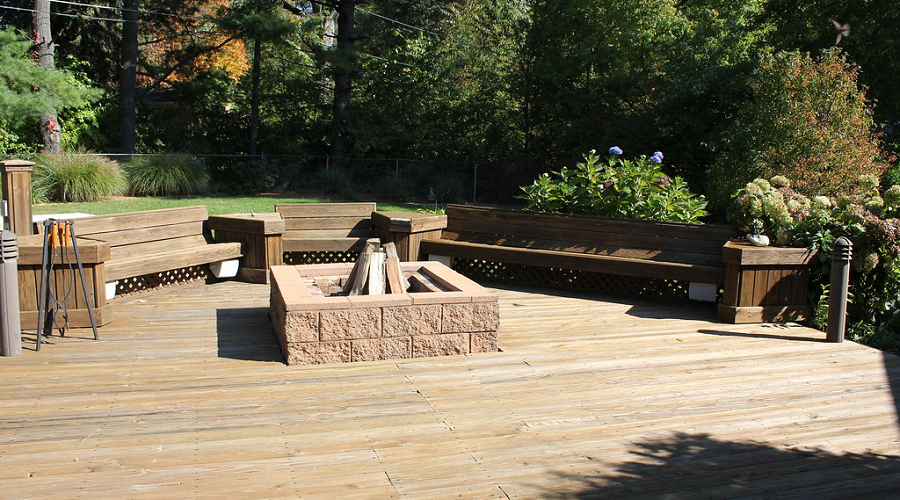 Integrated Wood Patio Bench