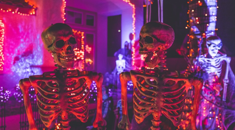 two skeletons at a Halloween party