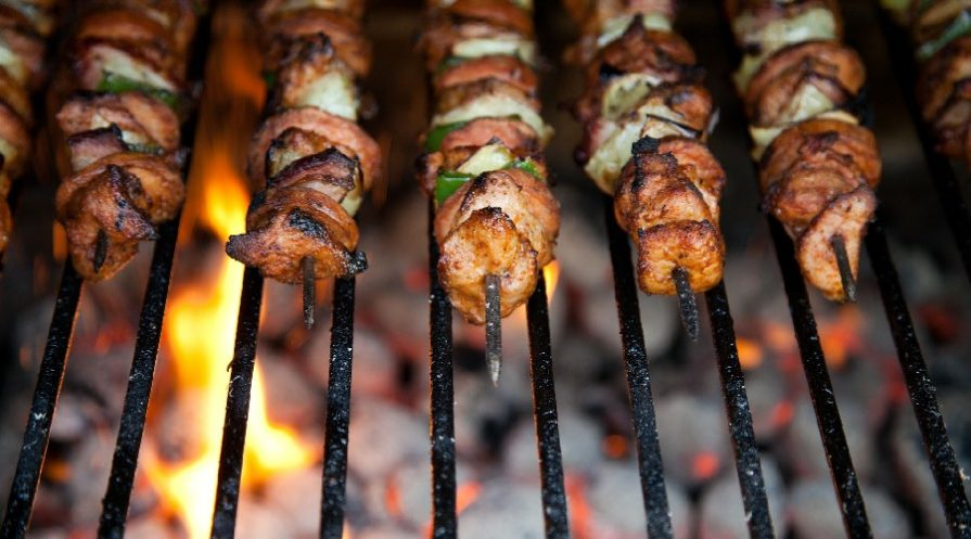 kabobs on a grill