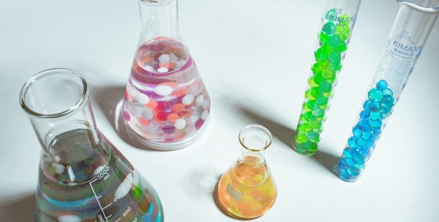 Beakers filled with chemicals