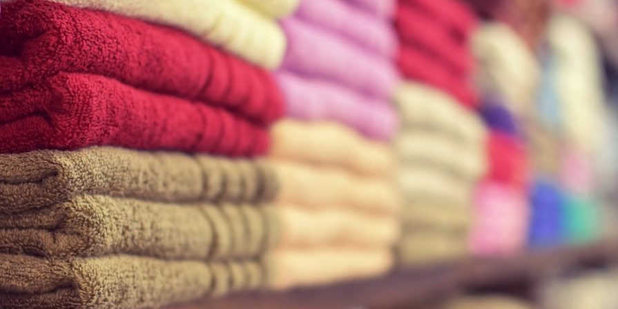 Colorful towels in a folded stack