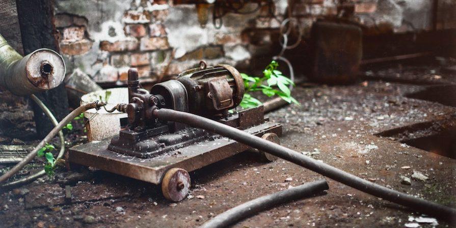 Old pump in workshop