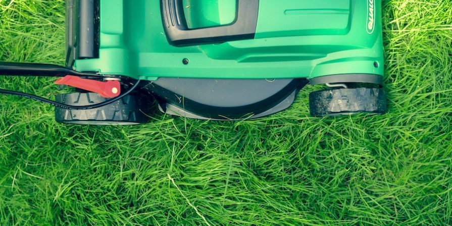 Green lawnmower mowing the lawn