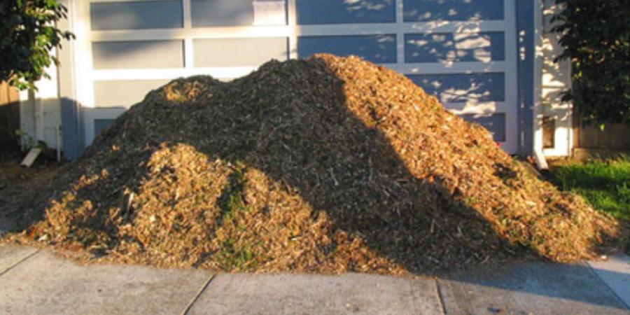 Mulch Pile in Driveway