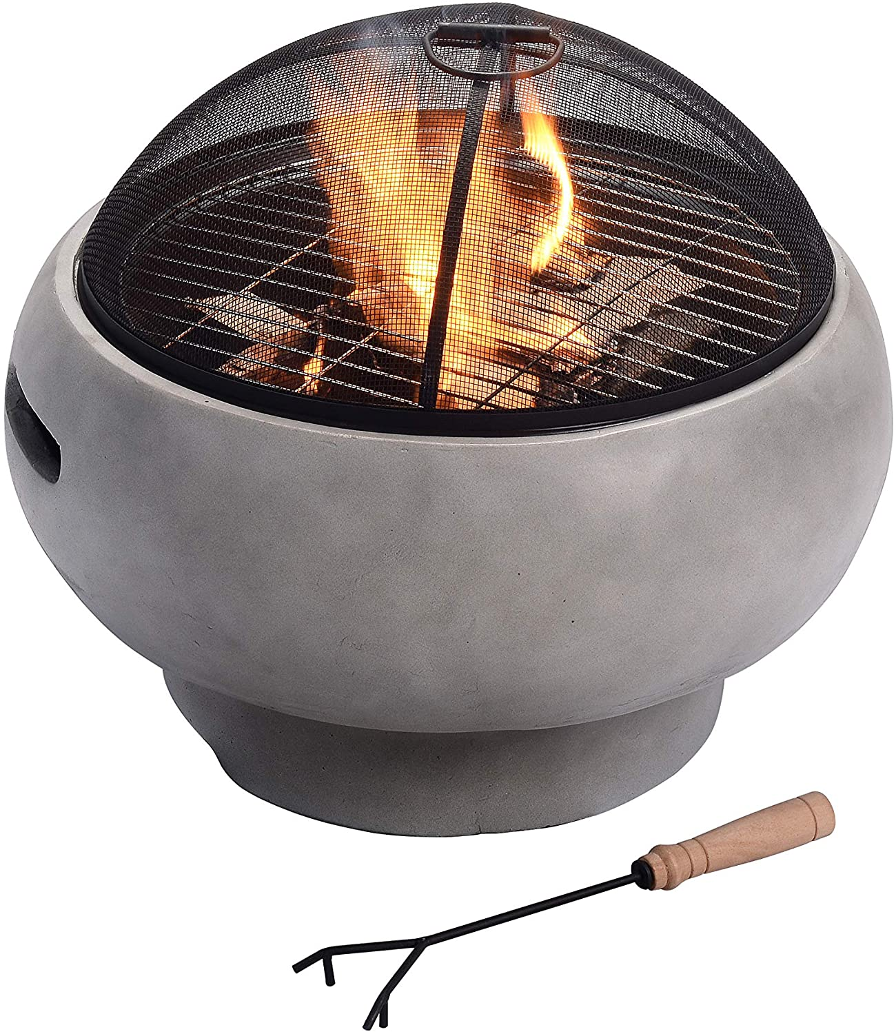 Peaktop Concrete Round Charcoal and Wood Burning Fire Pit