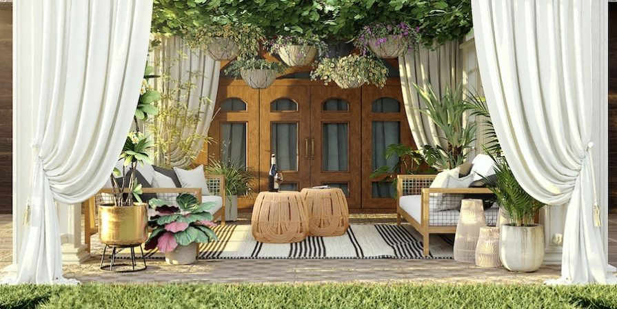 Glamorous porch with curtains and accessories
