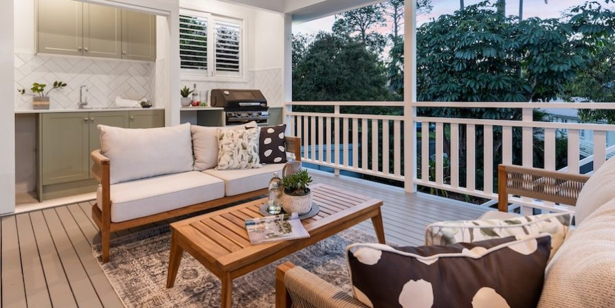 Enclosed porch with furniture