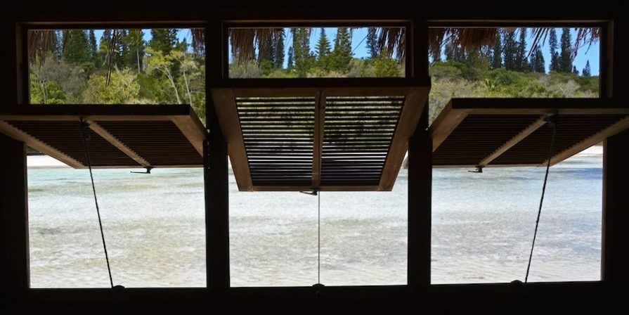 Open louvres on a porch