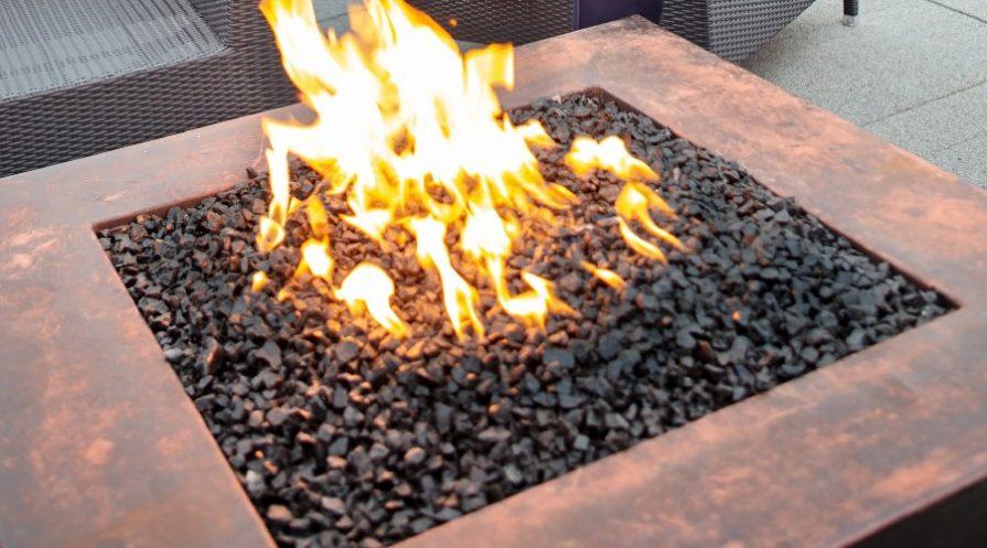 Closeup of square firepit