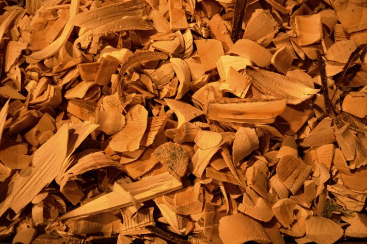 close up wood chips