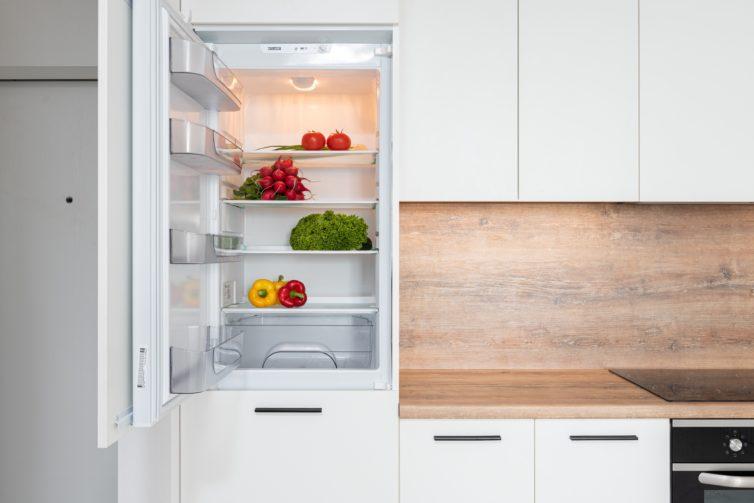Open fridge n the kitchen