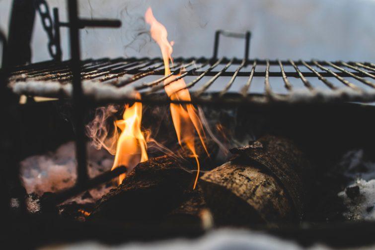 a fire pit grill closeup
