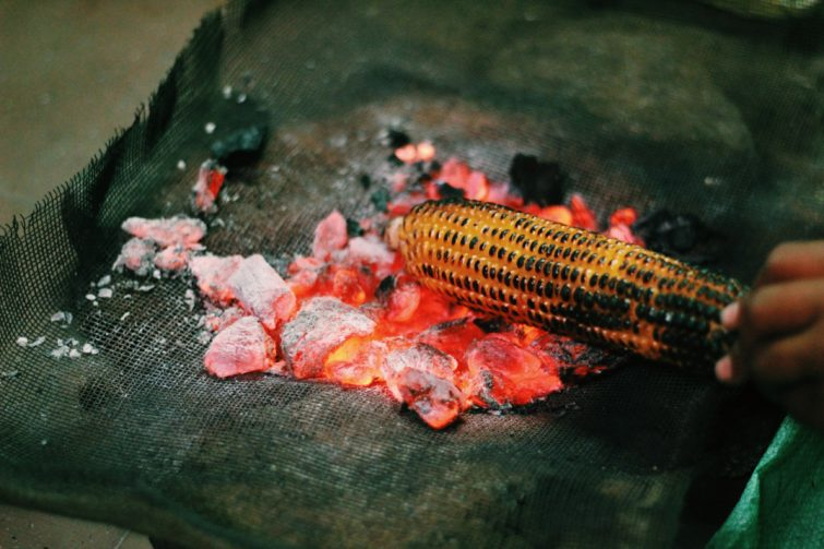 Grilling Corn on the Coals
