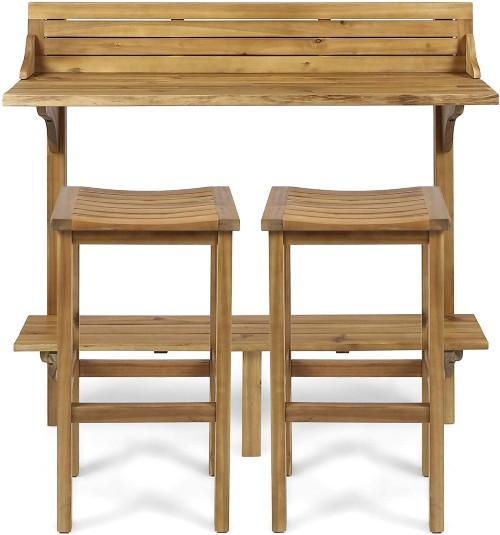 Christopher Knight Acacia Wood Bar Set