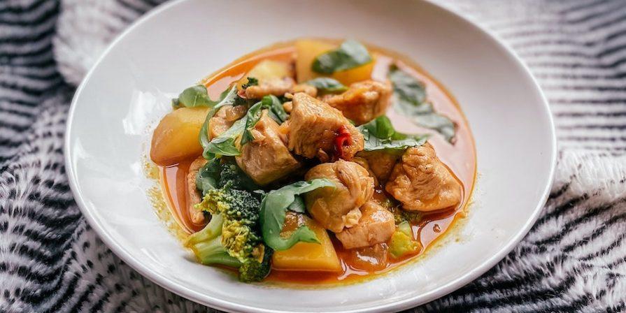 Chicken casserole in white bowl