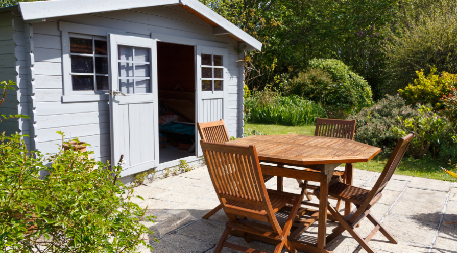 patio furniture and storage shed